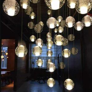 European LED Crystal Glass Ball Pendant Lamp Meteor Rain Ceiling Light Meteoric Shower Stair Bar Droplight Chandelier Lighting AC110V-240V