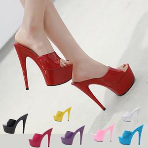 6 Color Woman Wedding Shoes Sandals Nightclub Sexy High-heeled 15cm Shoes Slippers Heels Waterproof Sandal Summer Pumps 201007