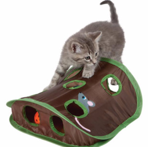 Pet Cat Toy Funny Interactive Cat Nine-hole Rat Hole with Bell Ball Toys Passageway Tubes Collapsible Crinkle Folding Play Toy