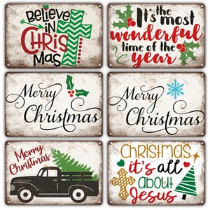 Retro Christmas Metal Signs Gift Room Decor Vintage New Years Tin Plate sign Santa Claus Poster Sweet Home Wall Decoration