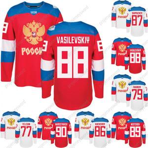 2016 Time da Copa do Mundo Rússia Jerseys Hóquei WCH 90 Namestnikov 89 Nesterov 88 Vasilevkskiy 87 Shipachev 86 Kucherov 79 Markov 77 Telegin