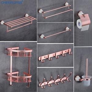 Ванной Space Алюминиевых аксессуары набор Rose Pink Полотенце держатель Suit Hotel Hardware Костюм Настенная вешалка для полотенец наборы PutD #