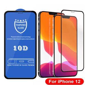 10d gehärtetes Glas echte 9H-Explosion voller Abdeckungsabdeckung gekrümmter Displayschutzfolie für iphone 12 mini 11 pro max xs xr x 8 7 6 6S plus se