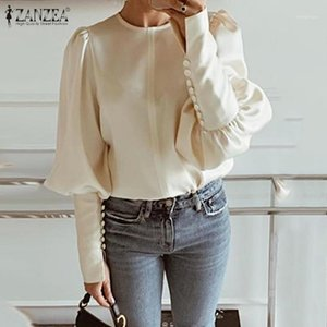 Top Fashion Blouse 2020 ZANZEA Women Autumn Long Puff Sleeve Shirt Office Lady Work Blusas Solid Loose Tunic Shirts Plus Size1