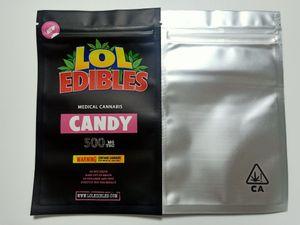 Lol edibles hashtag mel mylar bag medicado 500mg saco de doces embalagem hashtag mel doces bolinhos branco runtz rosa rozay sorbet