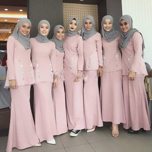 Pink Muslim Mermaid Bridesmaid Dresses Jewel Neck Long Sleeve Floor Length Garden Wedding Guest Party Gowns Maid of Honor Dress