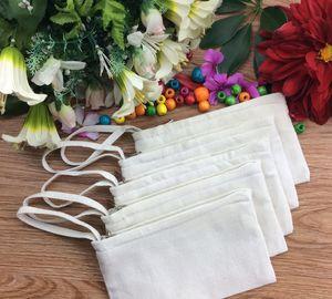 100pcs Deux couches Pure Blanc Blanc Coton Coton Cosmetic Sacs Cosmétiques DIY Femmes Femmes Vierge Plain Plain Maquillage Sac de maquillage Téléphone Pochette Sac à clavier Sac