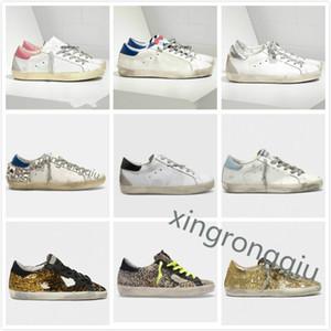 Italien Deluxe Marke Körbe Goldene Turnschuhe Pailletten Klassische weiße do-alte schmutzige Schuhe Gans Designer Superstar Mann Frauen Freizeitschuhe