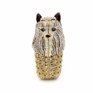 Dog Shape Crystal Evening Bag Hollow Metallic Evening Bags Crystal Clutches Bag Party Purse Hollow Out Evening Clutch Wedding Rhinestone Bag