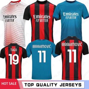 타이어 AC 밀란 20 21 새로운 축구 유니폼 2020 2021 이브라히모비치 피아 텍 축구 셔츠 파 케타 Suso에게 이과인 CALHANOGLU CALDARA 남성 유니폼
