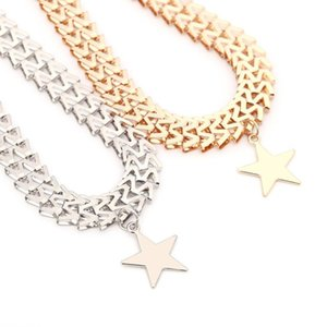 New Trendy Punk Rock Gold Color Stars Pendant Choker Necklaces Jewelry Thick Chain Neck Collar for Women Statement Necklace