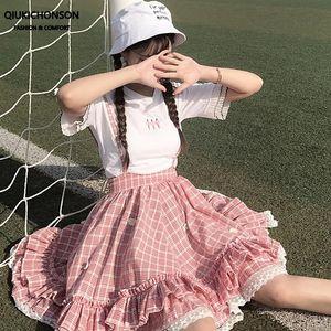Kawaii Lolita Skirt Japanese Soft Girl Teenage Students Jumpsuit Daisy Appliques Lace Patchwork Ruffle Plaid Suspender Skirts