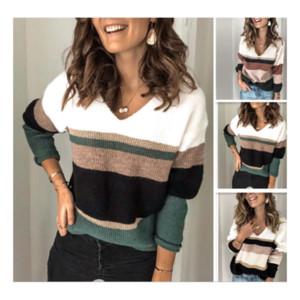 Женская осень и зима повседневная длинные рукава пуловеры комфорт полосатые печатные свитера сексуальные V шеи вязать перемычки
