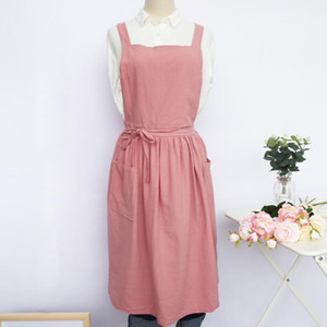Korean Fashion cute Cotton and linen apron women waist apron kitchen cooking Antifouling Baking Mats with pockets
