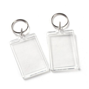 Clear Acrylic Plastic Blank Keyrings Insert Passport Photo Frame Keychain Picture Frame Keyrings Party Gift BEB3305