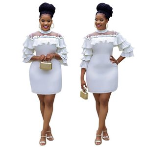 Fashion Autumn Womens Dresses White Color Ruffle High Neck Slim Mesh Patchwork Women Bodycon Dresses Women Designer Clothes