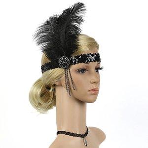 Strass Headband Flapper Feather Cristal frisado Headwear Mulheres 1920 Estilo Acessórios Handmade casamento lantejoulas Acessórios