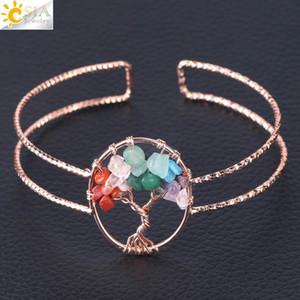 CSJA 2018 Fashion Bracelet for Women Rose Gold Natural Stone Bangle Yoga Wisdom Life Tree Handmade Copper Wire Wrap Jewelry New Arrival F504