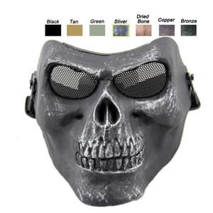 Sports de plein air Protection de vitesse de tir cosplay moitié visage tactique Airsoft crâne masque squelette NO03-106