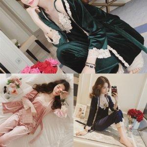 9RX Winter Femmes Épaissir Chaud Soft Sleeve Dames Pyjamas Summer Dame Flanel Pyjamas Ensemble Mujer Long Pyjamas Vêtements de nuit pour filles Femme VMAF