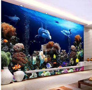 Custom Retail Naked Eye Underwater TV Bbackground Wall Beautiful Underwater World Small Fish Group Coral Sea Lion