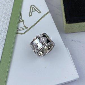 925 خواتم فضة عالية الكربون الماس أزياء كلاسيكية مجوهرات فاخر مصمم اقتراح الحب خاتم الخطوبة الزفاف زوجين الدائري