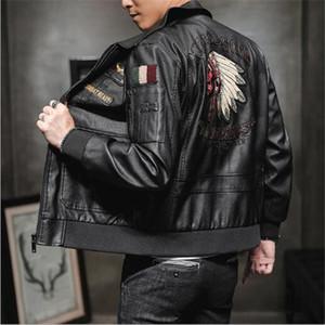 Autumn winter new men's tooling multi-pocket leather jacket baseball uniform US Air Force flight suit PU leather jackets coat Outerwear