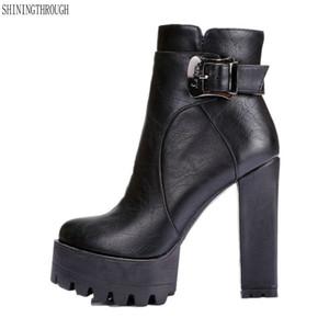 women super high heels boots dress shoes woman platform spring autumn ankle boots woman large size 41 42 201022