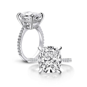 ANZIW 925 Sterlingsilber 6ct Cushion Cut Ring 4 Prong Sona Simulierter Diamant-Verlobungsringe Frauen Big Stone Hochzeit Schmuck