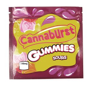 Cannaburst Gummies Sovras Mylar Bag 500mg Edibles Zipper Zipper Cerzone Conservazione retail Packaging per il fiore di tabacco a secco GWC3180