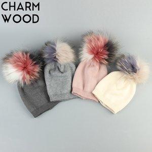 Newborn Baby Cashmere Beanies Hats With Patchwork Raccoon Pompom For Newborn Girls Boys Kids Warm Plain Cotton Skullies Beanie 201026