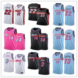 miamiheatnbajersey Jimmy 22 Butler Dwyane 3 Wade Jerseys 14 Tyler Herro Kendrick 25 Nunn 13 Adebayo Basketball Jerseys Blue