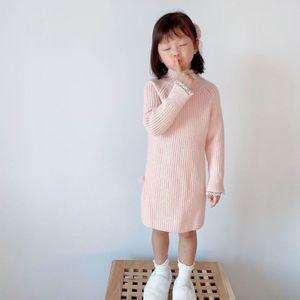 children's 2020 Korean clothing autumn winter woolen drs and thread garment thickened high collar girls' long sweater