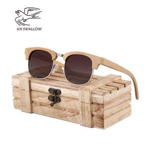 Sun Nature Brand Design Design Bamboo Для нового уникального ручной работы глотает солнцезащитные очки очки мужчины женские AHBQS