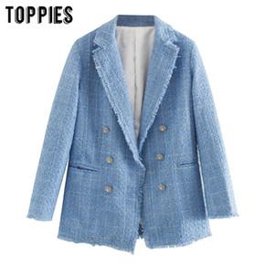 Toppies blue twill tweed jacket vintage lattice women suit jackets ladies asymmetrical double breasted coat 201016