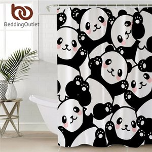 BeddingOutlet Panda Bathroom Curtain Cartoon Animal Shower Curtain Unicorn Waterproof Bath Curtain With Hooks 180x200cm Towel