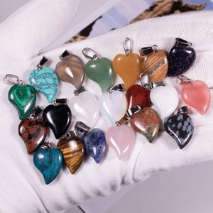 Natural Obsidian Stone peach heart Agate Pendant female small crooked Heart Pendant Necklace accessories heart shape wholesale