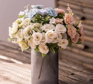 artificial fresca de primavera ramo de flores flor hotel interior mesa de centro de flores de seda de la decoración de la simulación 5 colores rosa
