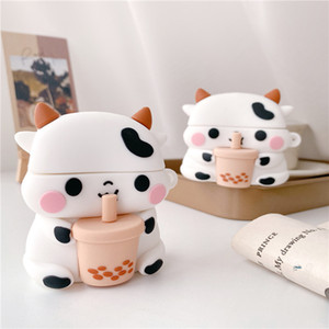 For Airpods Case Silicone Cover Milk Tea For Airpods 2 Case Cute Cow Silicone Wireless Earphone Charging Box For Airpods pro 3