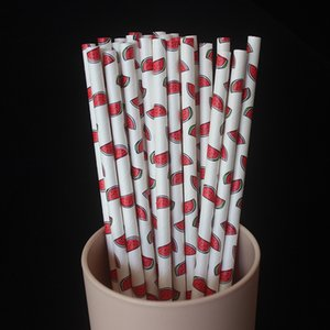 Cartoon Paper Straws Disposable Kraft Paper Pineapple Environmental Protection Straw Drinks Party Decorate Strawberry New Arrival 04ys M2