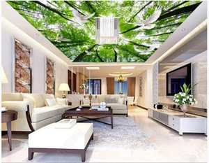 Custom ceiling wallpaper 3d zenith mural wallpaper for walls 3d HD dream green forest sky dove ceiling mural wall papers home decoration