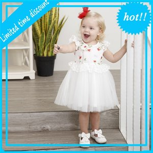 New Collection Summer Kids Children Born White party Dress Katoon Princess Edge Girls dresses