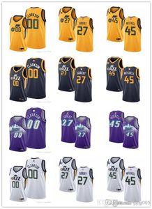 NCAA Mens Womens YouthUtah.Jazz00 Clarkson 27 RudyGobert 45 Donovan.Mitchell branco roxo marinho de basquete personalizado jers