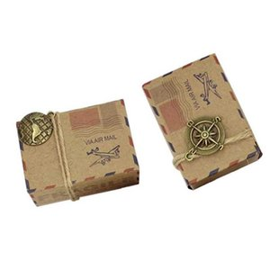 10 sets Vintage Stamp AirMail Design Candy Box With Compass Mini Globe Kraft Gift Box Gifts Bags Wedding Party Birthday Supplies