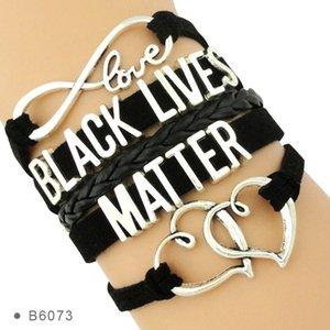 Infinity amour Soutenir la vie Tous Noir Matter Je ne peux pas respirer pas un de plus en cuir Coeur Hommes Bracelets pour femmes