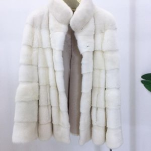 white mink coat with stand collar mink jacket women1