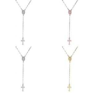 Nuevo collar de rosario cruzado para mujeres Virgen María Virgin Religiosa Jesús Crucifix Colgante Oro Plata Rosa Cadenas de oro Joyería de moda 94 m2