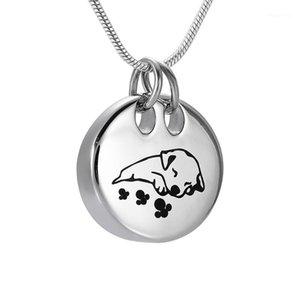 IJD9941 Acero inoxidable Sleeping Dog Dog Memorial Souvenir Souvenir Pendant para Ashes URN NewSake Collar Joyería1