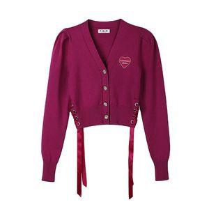 Li Mingxuan звезда же зима женская буква вышивка значок бандаж короткий свитер кардиган пальто MSMP