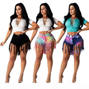 Plus size 2X Summer Women gradient jeans shorts fashion tassels denim shorts summer black short pants casual designer trendy jeans 3286